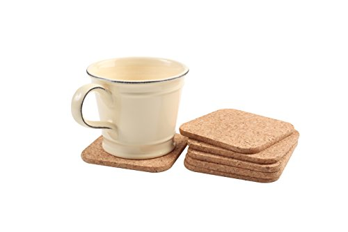 T&G Set x 6 Square Coasters In Natural Cork. 8x8cm by T&G Woodware