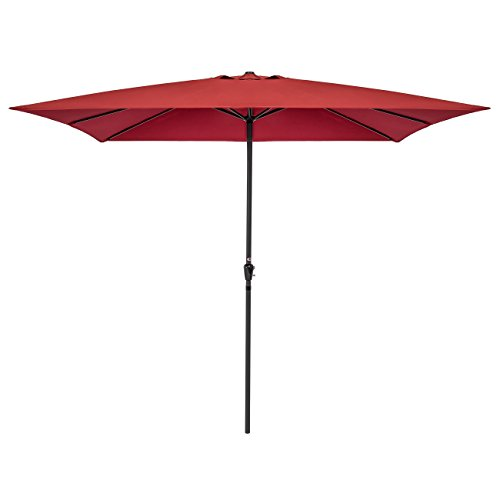 Best Choice Products 8x11ft Rectangular Patio Umbrella w Crank, UV- and Fade-Resistant 210G Polyester Fabric, Wind Vent – Brick Red