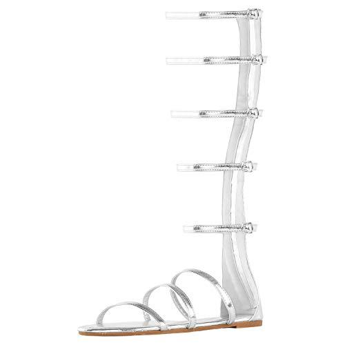 Design Grecian - DREAM PAIRS Women's Athena_HIGH Silver Glitter Fashion Gladiator Design Knee High Flat Sandals Size 10 M US