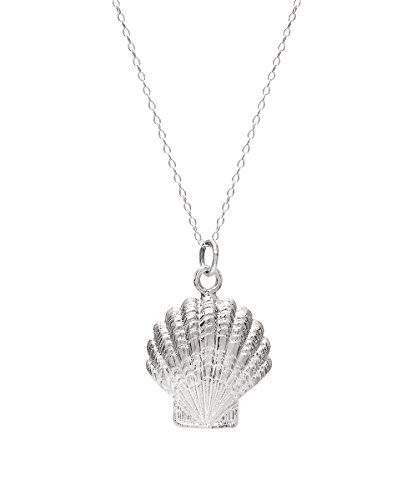 Sterling Silver Large Scallop Shell Pendant Necklace, (Scallop Shell Pendant)