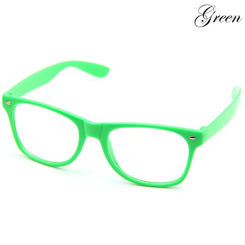 Doober Men Boy Women Girl Unisex Clear Lens Wayfarer Nerd Geek Glasses Eyewear 1pc (Green, - Glasses Womens Geek