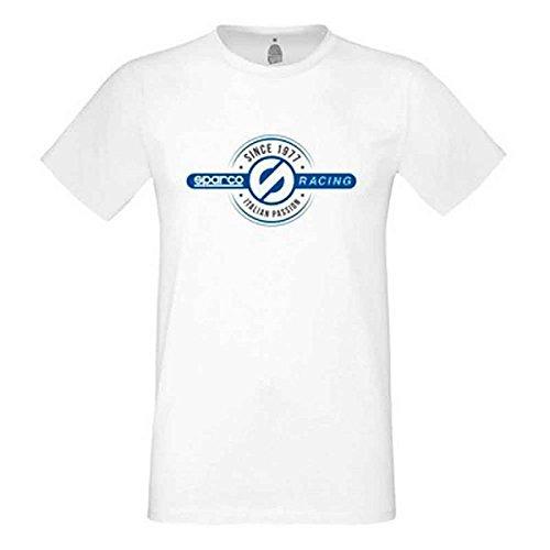 Sparco S01217BI3L Camiseta, Blanco, L