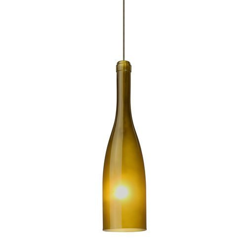 Besa Lighting 1XC-1685GF-BR 1X35W Gy6.35 Botella 12 Pendant with Green Frost Glass, Bronze Finish by Commercial Lighting--DROPSHIP