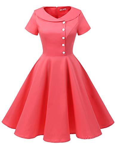 Jackie Kennedy Costume (ALAGIRLS Womens 1950s Retro Rockabilly Swing Knee Length Dress Vintage Short Sleeves)