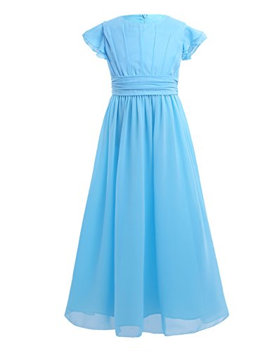 - YiZYiF Girls' Kids' Flutter Sleeves Ruffles Bridesmaid Prom Gown Party Long Flower Girl Dress Blue 4