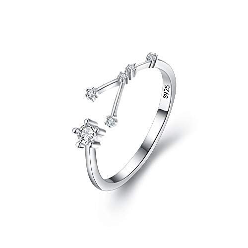 Sterling Silver Cancer Zodiac - BriLove 925 Sterling Silver CZ Statement Ring for Women -