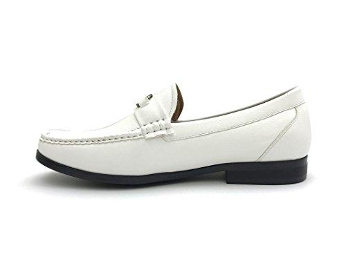 Enkel Strider Menns Spenne Loafer Skinn Kjole Sko Vanlige Og Store Og Høye Størrelser Hvite