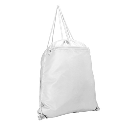 DALIX Drawstring Backpack Sack Bag in - White Sack