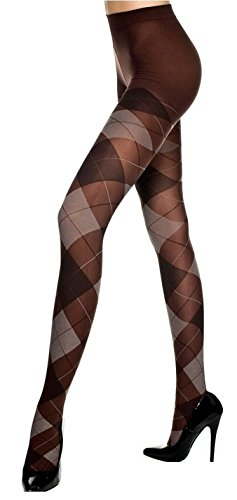 "Womens (5' 10"", 175 lbs) Coffee- Touch of Class Argyle Tights"