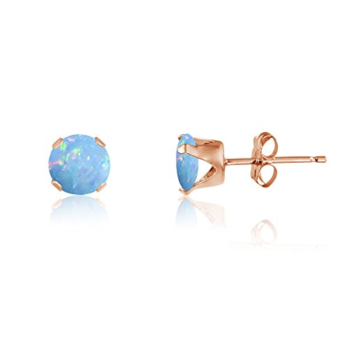 Round 3mm Fire & Snow White Simulated Opal Stud Earrings - .925 Sterling Silver, Rose or Yellow Gold Plated