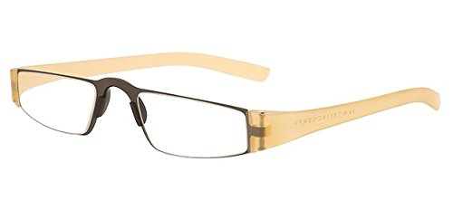 Porsche p8801 Reading Glasses with Clear Rodenstock Ophthalmic Lenses; Transparent Gold (+2.50)