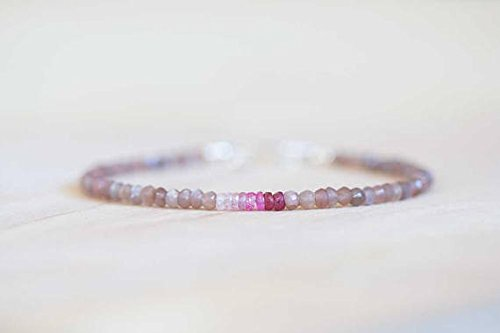 JP_Beads Chocolate Moonstone Bracelet Pink Sapphire, Rose Gold FilledFilled Fill or Sterling Silver, Delicate Gemstone Beaded Peach Brown Coffee Moonstone Jewelry 3-3.5mm 7 inches