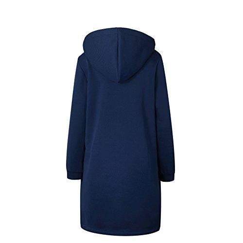 Lunghe Hooded Autumn Manicotto Foursteeds Blu Giacca Maniche A Womens Scuro Con Winter Cerniera Oversized Tasche xE5HXnXq8w