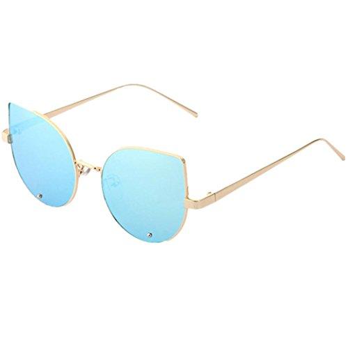 (Hot sale!Elevin(TM)2017 New Woman Men Ladies Female Fashion Steampunk Light Weight Designer Round Metal Frame Mirror Sunglasses Eyeglasses (Blue, 11))