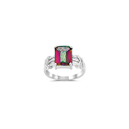 Diamond & Mystic Topaz Ring in 10K White Gold-9.0