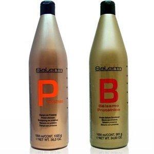 Salerm Proteinas Protein Shampoo 36.0 oz (1 Liter) & Salerm Protein Balsamo Conditioner 34.6 oz Combo Set by Salerm