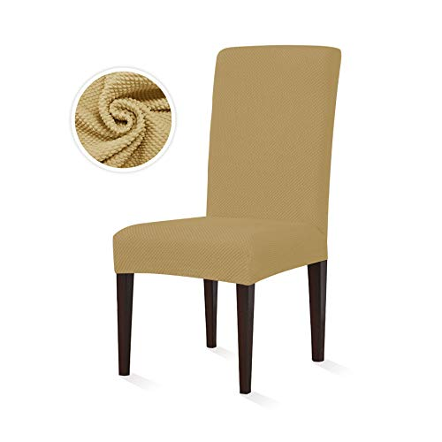 SyMax Spandex Dining Chair Slipcovers Jacquard Seat Covers Non Slip Furniture Protector for Wedding Room(4pcs, Beige)
