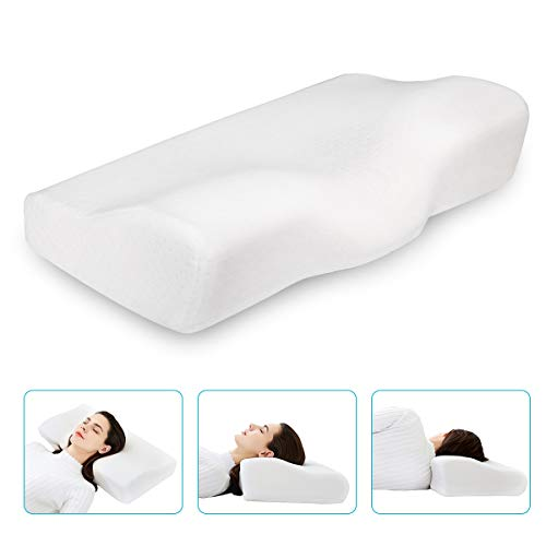 Dream Memory Foam Cervical Pillow - Ergonomic Neck Pillow for Sleeping - Orthopedic Neck Pillow for Neck and Shoulder Pain Relief - Bed Sleeping Pillow with Soft Velvet Cover - White ()