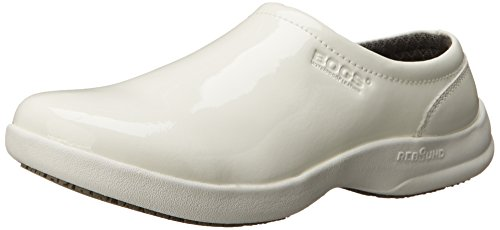 Bogs Women's Ramsey Patent Leather Slip Resistant Work Shoe, White, 8 M US by Bogs