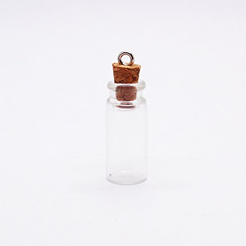 20 1-Inch Small Glass Bottles Message Treasure Charm Pendant DIY Kit For Necklace Weddings Wish Jewelry Mini Glass Bottles with (Mini Bottles With Cork)
