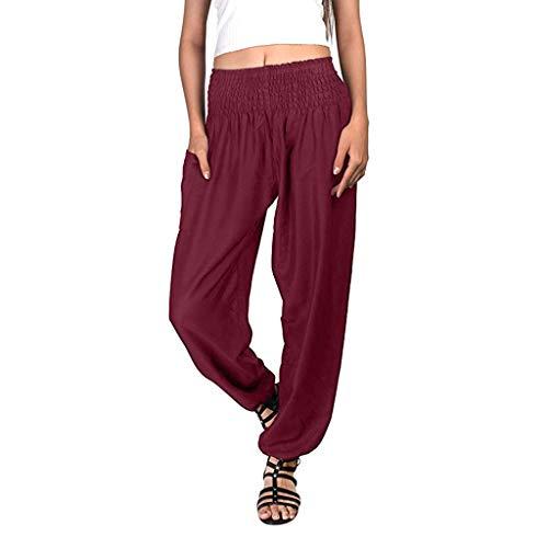 ♥Women's Bohemian Harem Pants, Ladies Fitness Workout Casual Loose Solid Trouser Elastic Waist Lounge Pants