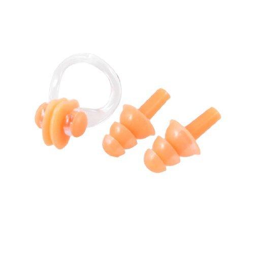 Nager Natation orange souple en silicone Bouchons d'oreilles en plastique Pince-nez ensemble W Case