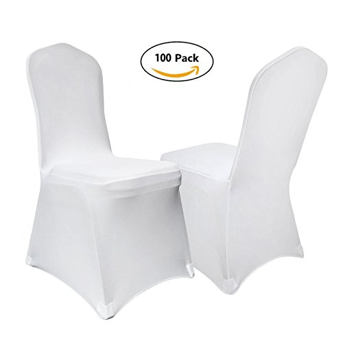 VEVOR Set of 100pcs White Color Polyester Spandex Banquet Dining Chair Covers for Wedding or Party Use (100PCS white)