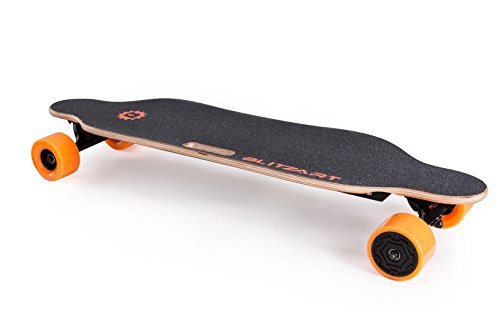 BLITZART Tornado 38' Electric Longboard E-Skateboard Motorized Electronic Hub-Motor 3.5' PU Wheels (Orange)