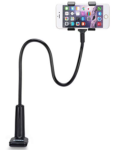Universal Cell Phone Holder, ZTON Universal Mobile Phone Stand, Lazy Bracket, Flexible Long Arms Clip Mount for iPhone, LG, etc.in Office Bedroom Desktop.(Black)