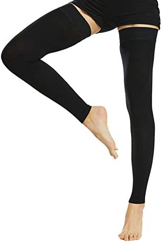 Beister Thigh High Footless Compression Sleeves with Silicone Band for Women & Men, Firm 20-30 mmHg Graduated Support for Varicose Veins, Edema, Flight, Black, Medium