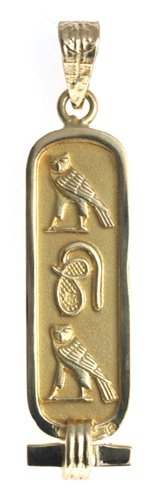 18K Gold Cartouche with ''MOM'' in Hieroglyphic Symbols - Solid Style - Made in Egypt by Discoveries Egyptian Imports