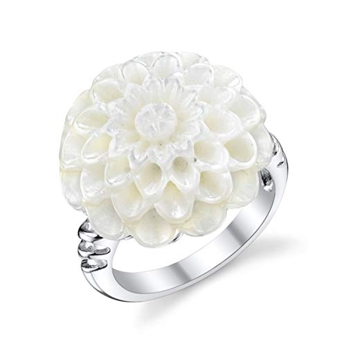 THE PEARL SOURCE Genuine White Freshwater Cultured Mother of Pearl Ring for Women