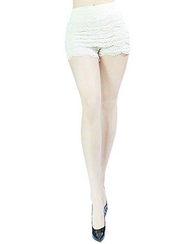 Trendy and Elegant Ruffle Design Fashion Skirt Short Pants for Women (SMALL, WHITE-1009)