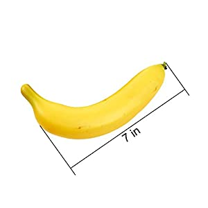 Juvale Set of 6 Individual Fake Fruit Bananas - Artificial Fruit Plastic Bananas for Still Life Paintings, Storefront Decoration, Kitchen Decor, Yellow, 8 x 3.7 x 1.5 Inches 5