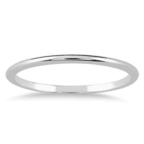 1mm Thin Domed Wedding Band in 14K White Gold ()