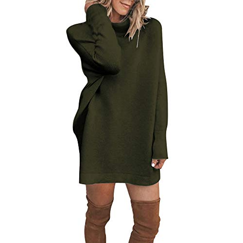 Landfox Maxi Dress, Winter Turtleneck Casual Dress,Dress for Women Long Sleeve Loose Bottom Knit Sweater Mini Dress Green]()