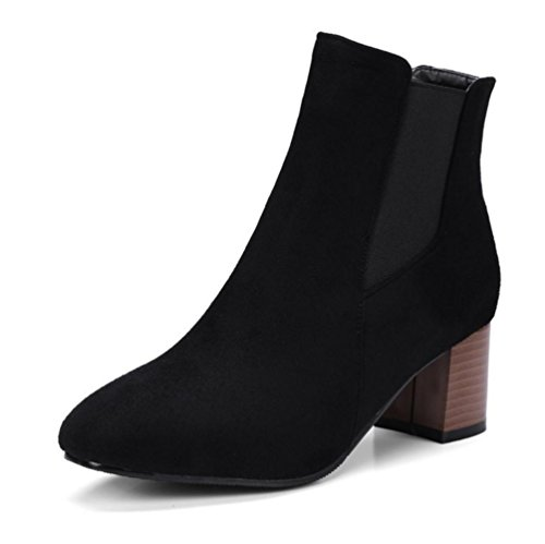 BOTXV Womens Ladies Chunky Rough Mid Heel Short Boots Party Square Head Suede Large Size 40-48 Boots BLACK-44