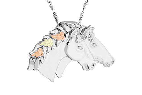 Black Hills Gold Silver Double Horse Head Necklace