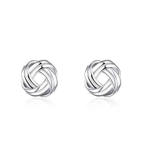 (Sterling Silver Celtic Knot Stud Earrings, Twisted Earring for Women Girls)