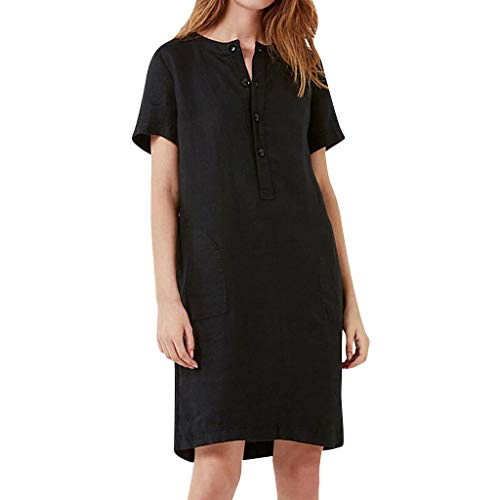 EOWEO HOT!Women Skirts, 2019d Womens Summer Short Sleeve Linen Dress Loose A-line Party Sundress Button Dress(XX-Large,Black)