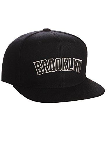 17168eaecda Classic Flat Bill Visor USA Cities Snapback Hat 3D Raised Silicon Letters  Cap - Brooklyn Black - White Black Letters