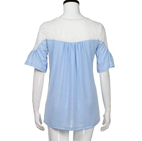 T Dentelle Haut Mode lgant Casual Plier Creux Blau Branch Shirt Rond Col pissure BoBoLily Shirts Courtes Spcial Shirts Et Bandage Houppe T Manches Style Femme XqxgwRgI8