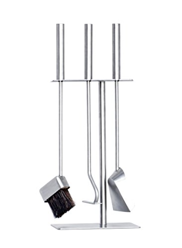 - HANSA Premium Fireplace Tools Set (3 Parts) SS Stainless Steel Square Hanger Modern, Fire Tools Companion Set Accessories Fireside Stainless Steel Brush