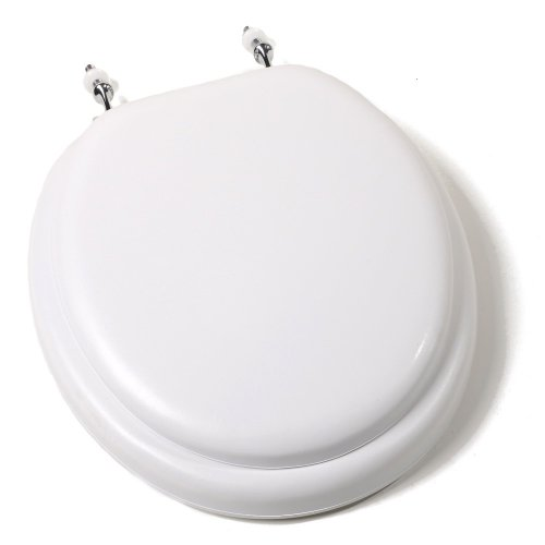 Comfort Seats C3B5R200CH Deluxe Soft Toilet Seat with Wood Cores and Chrome Hinges, Round, White