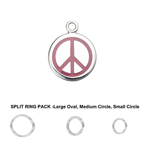 Divoti Deep Custom Laser Engraved Pet ID Tags/Personalized Dog Tags for Pets - Entirely Made of Surgical Stainless-Steel w/Hard Enamel - Peace -S-Free Custom Engraving w/Ring Pack