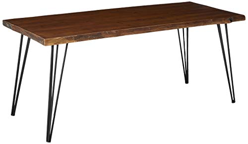 Christopher Knight Home Chana Industrial Faux Live Edge Rectangular Dining Table, Natural / Black