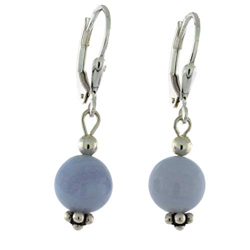 (Sterling Silver 8mm Gemstone Bead Lever Back Bottom Dot Flower Earrings, Lace Agate)