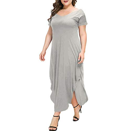 Dressin Women's Casual Loose Pocket Long Dress Short Sleeve Plus Size Slit Maxi Dress Solid V Neck Dresses Beige -