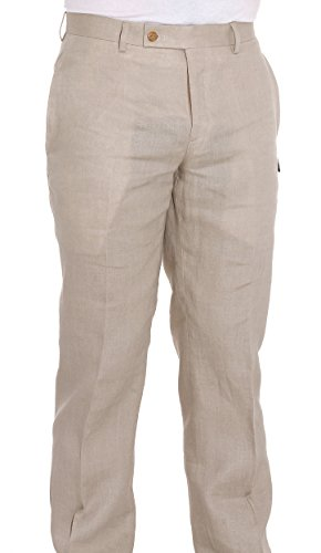 Ralph Lauren Men's Flat Front Solid Tan Linen Dress (Ralph Lauren Classic Linen Pant)