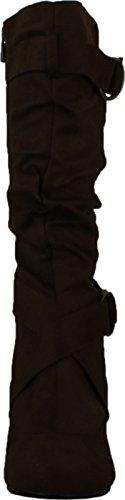 CC Maggie-38 Damen Kniehohe Kitty Heels Wide Shaft Boots Braun